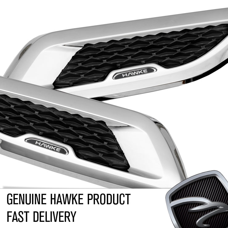 Hawke Adhesive Bonnet Vents Chrome With Black Mesh For